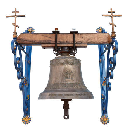 bell bronze bell: Campana de bronce Iglesia aislado en fondo blanco
