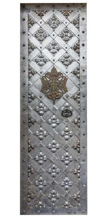 puertas de hierro: Hierro antiguo puertas de aislamiento en un fondo blanco Foto de archivo
