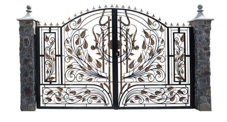 portones: Hierro aislamiento puerta sobre un fondo blanco