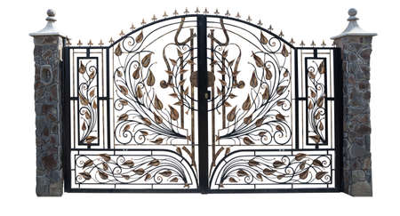 entrances: Iron gate isolation on a white background