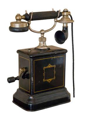 Vintage telephone set isolated on white background