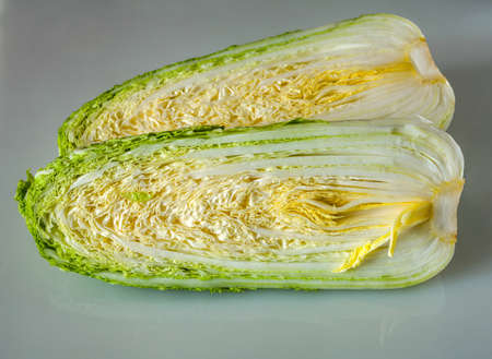Sliced chinese cabbage for salad close up