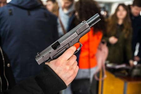 Pistol - short firearms for shooting at short distances. 版權商用圖片