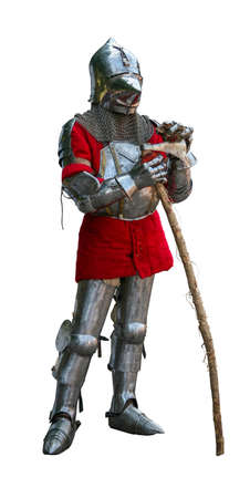 Knight in armor with battle ax isolated on white background Reklamní fotografie
