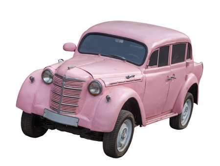 Old pink car isolated on white background