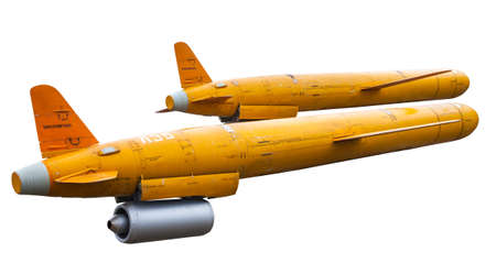 The old cruise missiles decommissioned isolated on white background