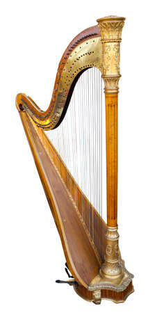 Harp musical instrument isolated on a white background