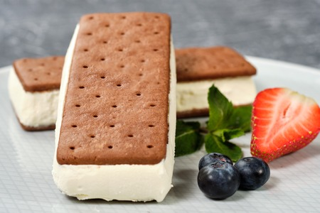 vanilla ice cream with cookies on a white plate with berries. Grey background Imagens
