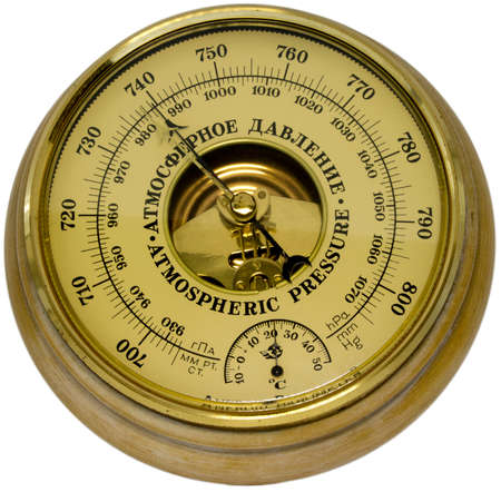 barometer: Aneroid barometer on white background Stock Photo