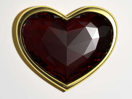 beguin: Ruby in the form of heart isolated on white