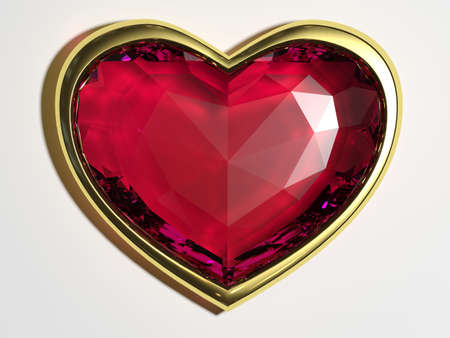 beguin: Ruby heart on a white background Stock Photo