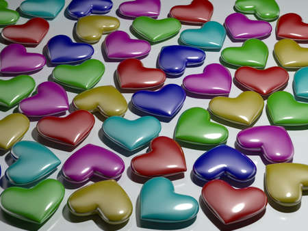 beguin: Varicolored hearts from plastic Stock Photo