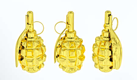 Golden anti-personnel fragmentation grenades on white background photo