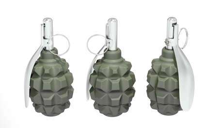 Three green frag grenades on white background photo