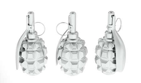 Three metallic frag grenades on white background Stock Photo