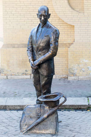 mendicant: Statue of a Kisa Vorobyaninov  Russia, Pyatigorsk  A character satirical novel  The Twelve Chairs  by Ilya Ilf and Eugene Petrov