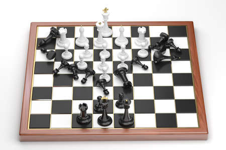 Rush of the white chess figures photo