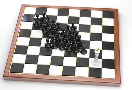 Arrow made of black pawns points to the white king photo