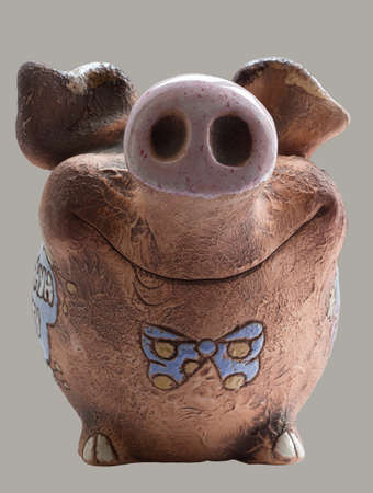 mumps: Funny clay piggy bank  Front view Stock Photo