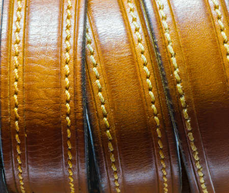 stitch: The old leather belt Stock Photo