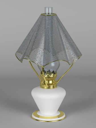 lamp shade: Oil lamp with the lamp shade in the form of an umbrella with rain drops Stock Photo