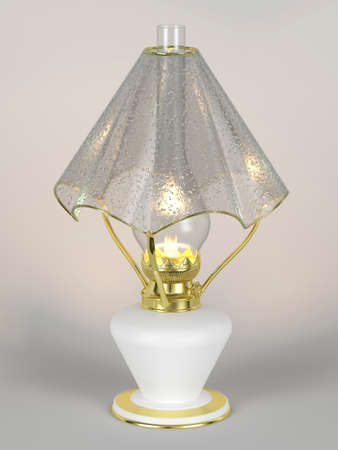 lamp shade: The shining of kerosene lamp with the lamp shade in the form of an umbrella Stock Photo
