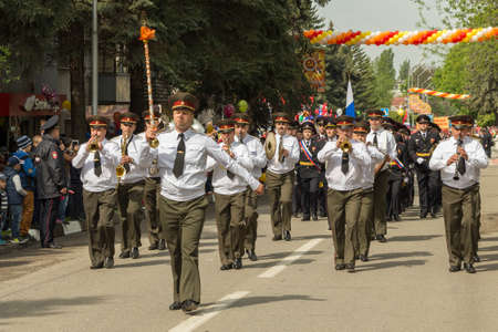 Military orchestra on parade in honor of the 69th anniversary of the Great Victory in the Second World War in Pyatigorsk (Russia)