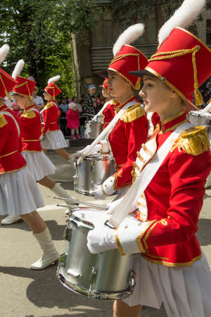 In the parade, devoted to the 69th anniversary of the Victory in the Second World War, drummers of Management of Culture of administration of Pyatigorsk (Russia) take part