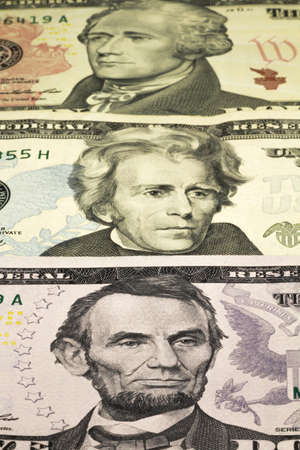 five dollar bill: Portraits of U S  Presidents depicted on banknotes in denominations of U S    5,10,20