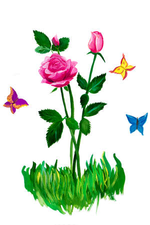 Pyatigorsk, Russia - June 1, 2014  Children s Day  Roses and butterflies  Сhildren s drawing  Job participated in children s drawing competition, held in the town square  Author of picture is unknown