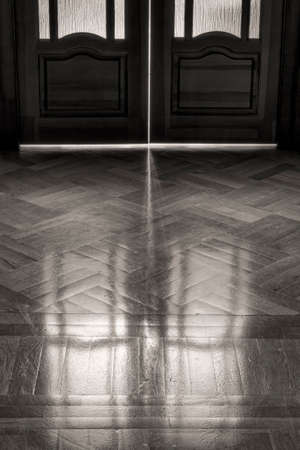 elapsed: The door of childhood memories  Reflection on the parquet floor closed door in retro style  The concept of elapsed time, background  black and white  Stock Photo