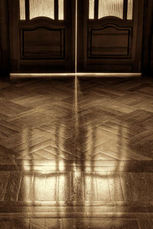 elapsed: The door of childhood memories  Reflection on the parquet floor closed door in retro style  The concept of elapsed time, background  sepia