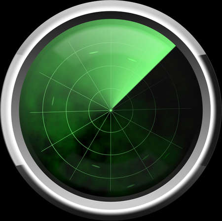 The classical screen of a radar in green tones with marks of the enemy targets photo