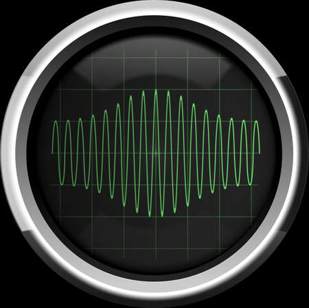 Sinusoidal signal with amplitude modulation  AM  on the oscilloscope screen in green tones, background Stock Photo