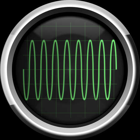 Sine signal on the oscilloscope screen in green tones, a background photo
