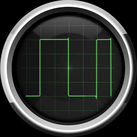 pulses: Rectangular  digital  signal on the oscilloscope screen in green tones, background Stock Photo