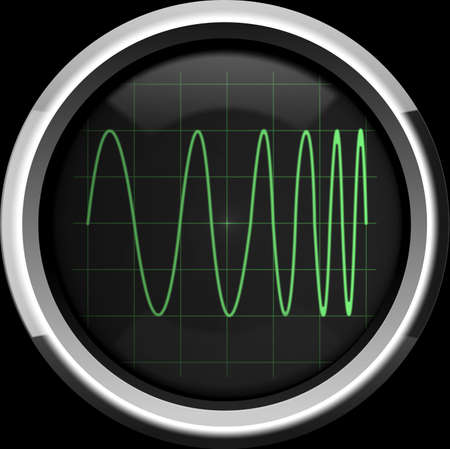 modulation: Signal with frequency modulation (FM) on the oscilloscope screen in green tones, background Stock Photo