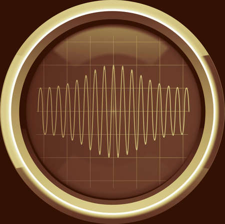 Sinusoidal signal with amplitude modulation (AM) on the oscilloscope screen in brown tones, background