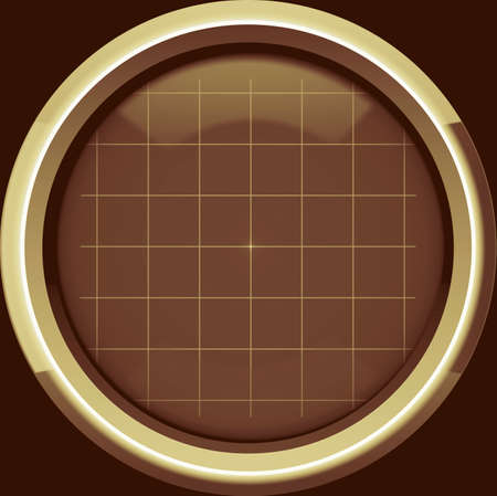 oscilloscope: The empty screen of an oscilloscope with a grid chart in brown tones. Use as a background for your operations, displaying the necessary information or the diagram