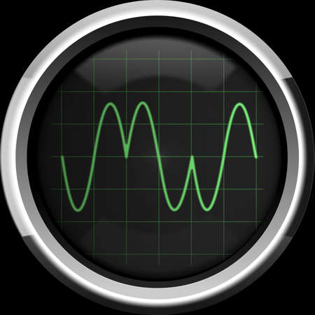 Signal with phase modulation (PM) on the oscilloscope screen in green tones, background