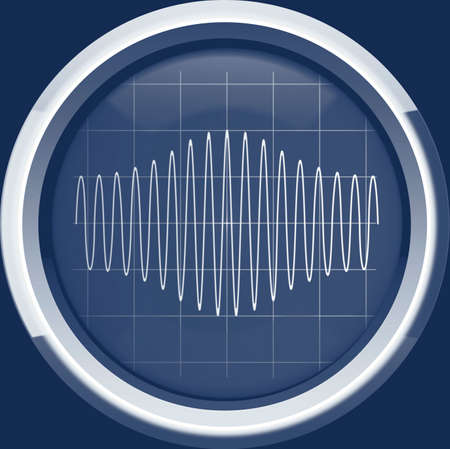 modulation: Sinusoidal signal with amplitude modulation (AM) on the oscilloscope screen in blue tones, background Stock Photo
