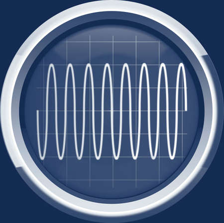 Sine signal on the oscilloscope screen in blue tones, a background Stock Photo