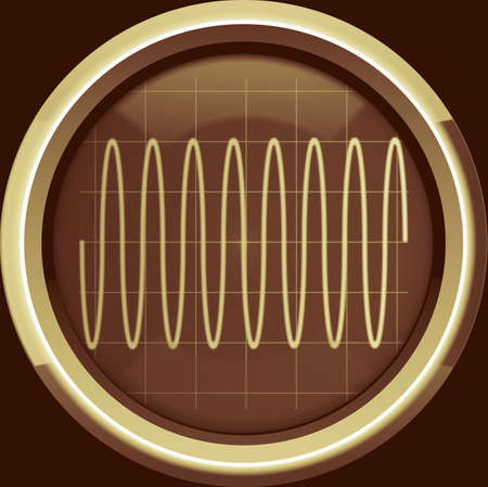 oscillations: Sine signal on the oscilloscope screen in brown tones, a background Stock Photo