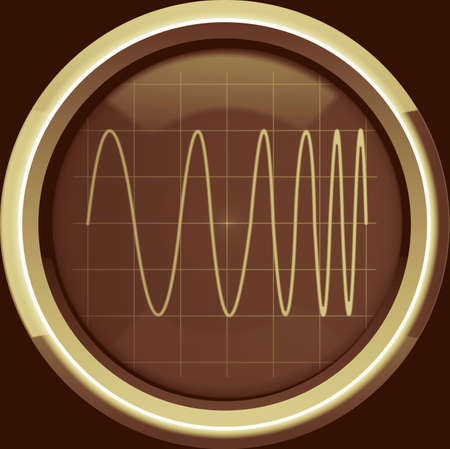 modulation: Signal with frequency modulation  FM  on the oscilloscope screen in brown tones, background