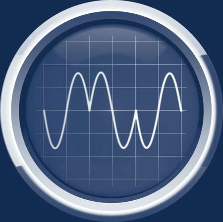 modulation: Signal with phase modulation  PM  on the oscilloscope screen in blue tones, background Stock Photo