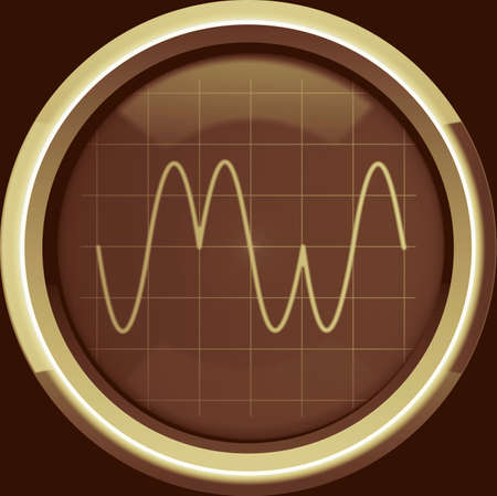 Signal with phase modulation  PM  on the oscilloscope screen in brown tones, background