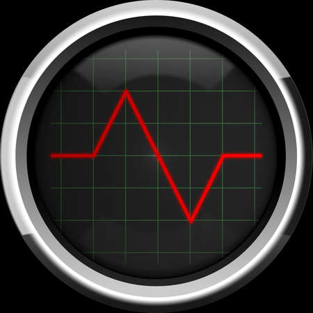 heart monitor: Red pulse to the heart monitor or oscilloscope screen, background Stock Photo