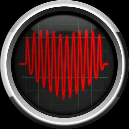 intensive care: Series of pulses in the form of heart on the cardiomonitor or oscilloscope screen, background