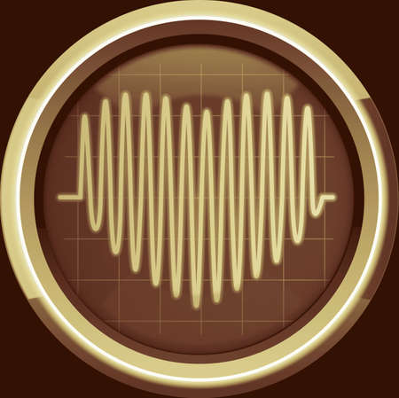 pulses: Series of pulses in the form of heart on the cardiomonitor or oscilloscope screen in brown tones, background Stock Photo