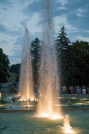 pyatigorsk: Light and musical fountain at evening in Pyatigorsk, Russia Stock Photo